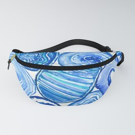 Blue agate slices watercolor Fanny Pack