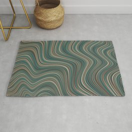 MANITOULIN forest colours of aquamarine green and brown in abstract waves design Rug