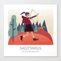 sagittarius Canvas Prints featuring SAGITTARIUS by PENLEY DESIGNS