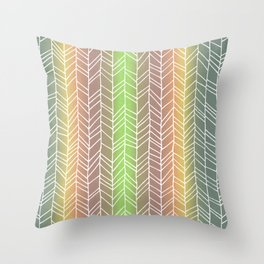 Colorful Rainbow Feather Pattern Throw Pillow