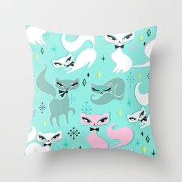 Swanky Kittens Throw Pillow