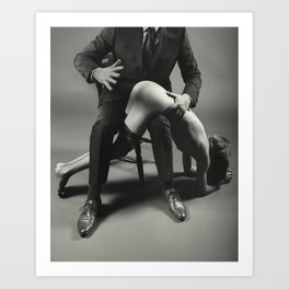 Bare hand Spanking - Naked beautiful woman is spanked with bare hand Art Print