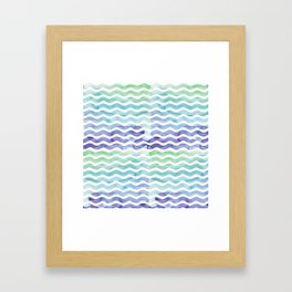 Modern teal blue watercolor hand painted waves Framed Art Print