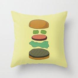Burger Assembly Throw Pillow