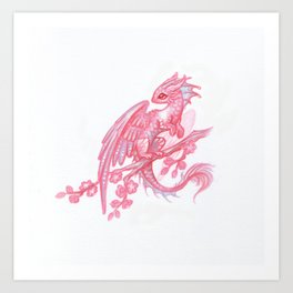 Little sakura dragon Art Print
