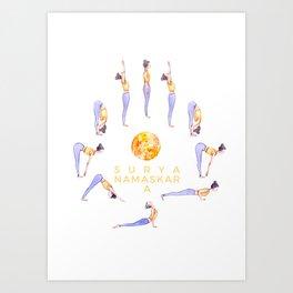 Sun Salutation A Illustration   Watercolor Yoga Art   Surya Namaskar Art Print