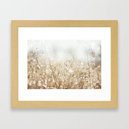 Dewdrop Nature Photography, Neutral Dew Drop, Gold White Brown Beige, Cream Water Drops Framed Art Print
