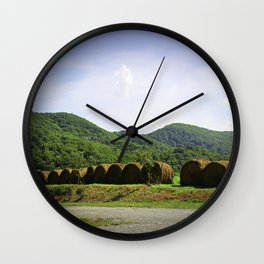 Harvesting Hay in the Summer Wall Clock
