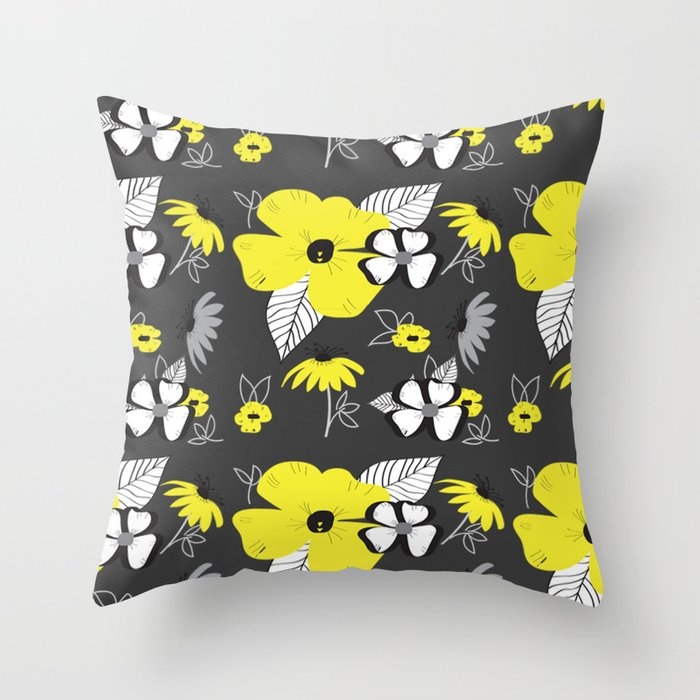 Yellow and Black Drawn Flowers on Gray Throw Pillow