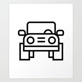 Jeep 4x4 Car Icon (Front-View) Art Print