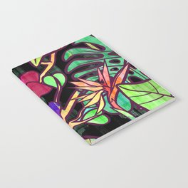 Tropical leaves and flowers, jungle print Notebook