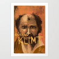gustav klimt Art Prints featuring 50 Artists: Gustav Klimt by Chad Beroth