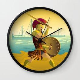 trojan warrior in beach near trireme greek ships Wall Clock
