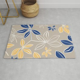 Modern, Minimal, Line Art, Beige, Yellow, Blue, Floral Prints Rug