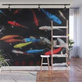 Chinese Symbols 'Peace & Family' Koi Pond Decorative Painting by Jeanpaul Ferro Wall Mural