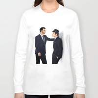 sterek Long Sleeve T-shirts featuring Sterek White Collar AU by Finduilas