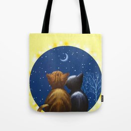 Cat Moon Love Be With You Tote Bag