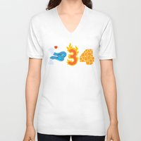 numbers V-neck T-shirts featuring Fantastic Numbers by Carlos Rocafort