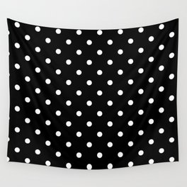 Polka dot black and white Wall Tapestry