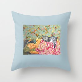Sleeping Beauty with a Tabby Cat and birds Throw Pillow