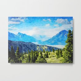 Watercolor Painting of Kluane National Park and Reserve of Canada Metal Print