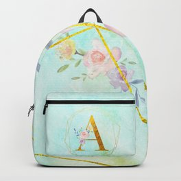 Gold Foil Alphabet Letter A Initials Monogram Frame with a Gold Geometric Wreath Backpack