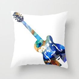 Vintage Guitar - Colorful Abstract Musical Instrument Throw Pillow
