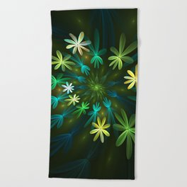 Fantasy Flowers, Fractal Art Beach Towel