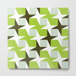 Geometric Pattern #96 (green squares white stars) Metal Print