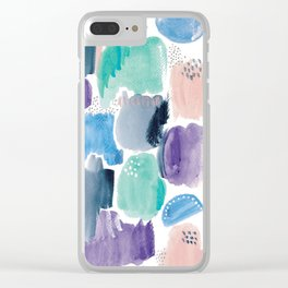 Marking making abstract pattern- blue purple peach and mint Clear iPhone Case