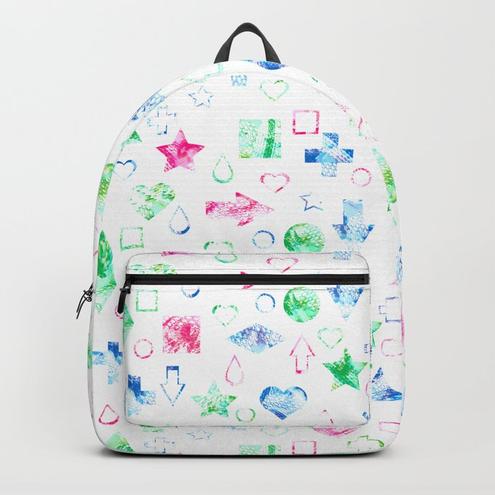 Bright geometric abstract elements seamless pattern on white Backpack