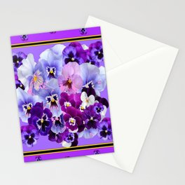 PANTENE PURPLE PANSY GARDEN   DECORATIVE ART DESIGN Stationery Cards