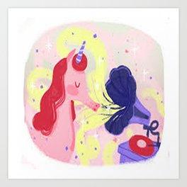 musical unicorn Art Print