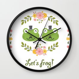 Let's frog! Funny gay frogs couple Wall Clock
