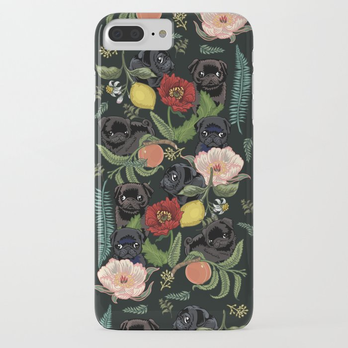 botanical and black pugs iphone case