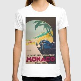 Vintage 1933 Monaco Grand Prix Car Advertisement Poster by Geo Ham T-shirt