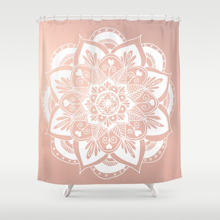 Flower Mandala On Rose Gold Shower Curtain By Julieerindesigns