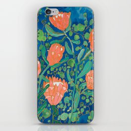 Coral Proteas on Blue Pattern Painting iPhone Skin