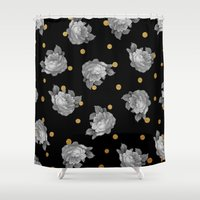 gold dots Shower Curtains featuring Roses and Gold Dots by Sandra Arduini