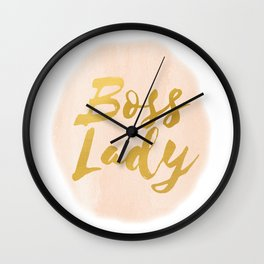 Boss Lady Pink Watercolor and Gold Wall Clock