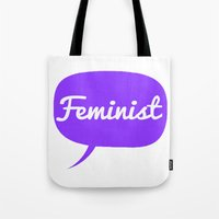 feminist Tote Bags featuring Feminist by LittleKnits