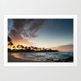 Sunrise at Poipu beach in Kauai, Hawaii Art Print