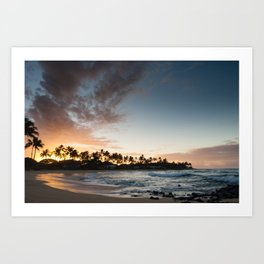 Sunrise at Poipu beach in Kauai, Hawaii Art Print