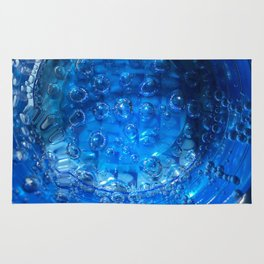 Clear Blue Water Bubbles Rug