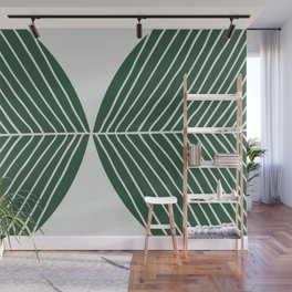 Minimal Tropical Leaf Muted Green Wall Mural