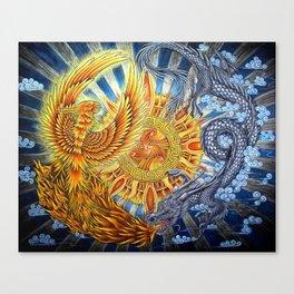 Chinese Phoenix and Dragon Mandala Canvas Print