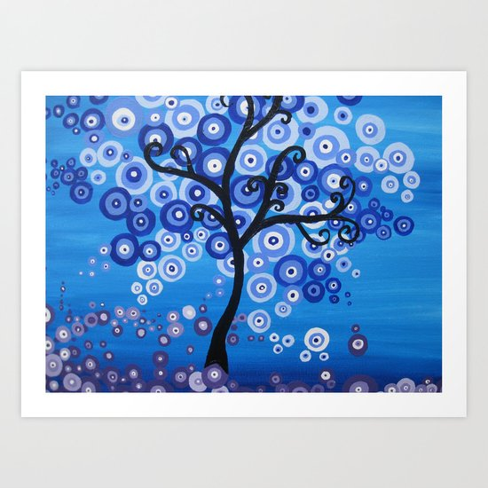 blue sea tree - shades of blue with bubble leaves Art Print