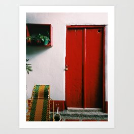 Red door in coffee and cacao farm in Colombia Art Print