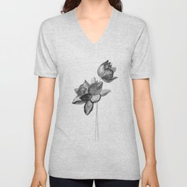 Lotus flowers art print Unisex V-Neck