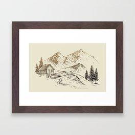 Vector of Mountain Landscape Framed Art Print